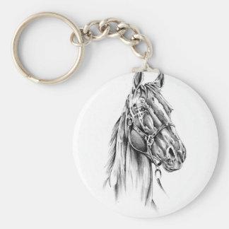 Arte do esboço do desenho do cavalo handmade chaveiro