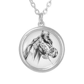 Arte do esboço do desenho do cavalo handmade colar com pendente redondo