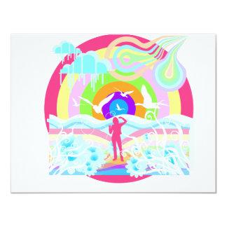 arte do estilo do hippy dos anos 60 convite 10.79 x 13.97cm