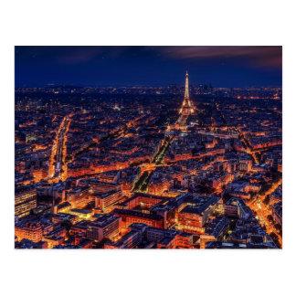 Arte do europeu da torre Eiffel da noite da cidade Cartão Postal