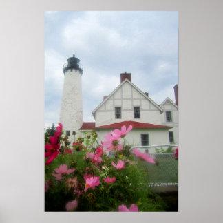 Arte do farol de Michigan & do poster das flores