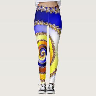 Arte do Fractal - amarelo alaranjado azul ESPIRAL Leggings