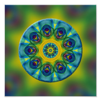 Arte do Fractal da mandala do arco-íris Impressão De Foto