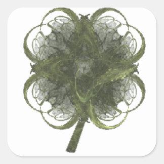 Arte do Fractal do trevo de quatro folhas com Adesivo Em Forma Quadrada