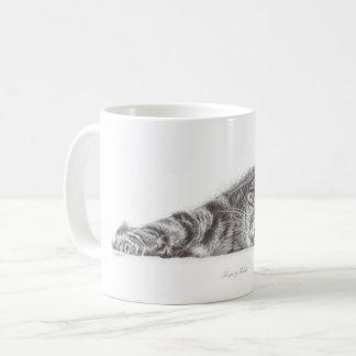 Arte do gato de gato malhado, caneca do gato,
