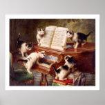 Arte do gato: Impressão da arte do vintage: O cons