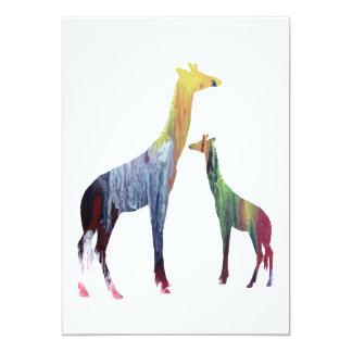 Arte do girafa convite 12.7 x 17.78cm