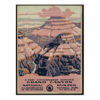Arte do Grand Canyon do vintage Cartão Postal