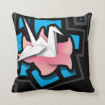 Arte do guindaste no preto travesseiros de decoração