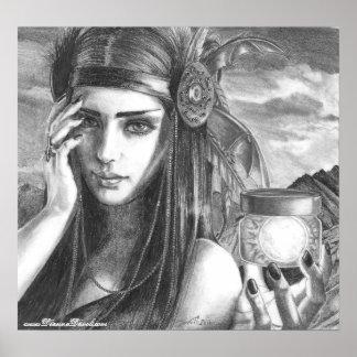 Arte do nativo americano do poster da deusa do