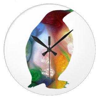 Arte do pinguim relógio para parede
