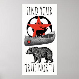 Arte do poster da canoa dos alces do urso
