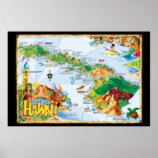 Arte do poster da ilha havaiana - toda a ilha