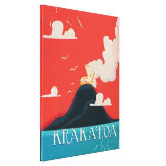 Arte do poster das férias do vintage de Krakatoa Impressão Em Canvas