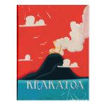 Arte do poster das férias do vintage de Krakatoa Cartao Postal