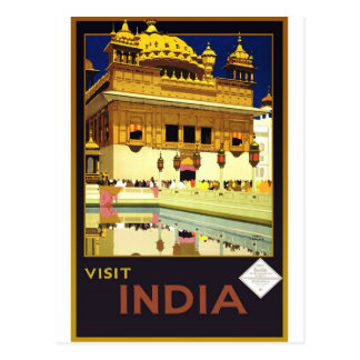 Arte do poster das viagens vintage de India da Cartão Postal