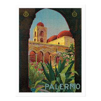 Arte do poster das viagens vintage de Palermo Cartão Postal