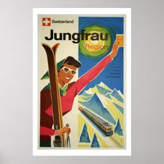 Arte do poster de viagens da suiça de Jungfrau do