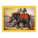 Arte do poster do circo do vintage - executando o  cartao postal