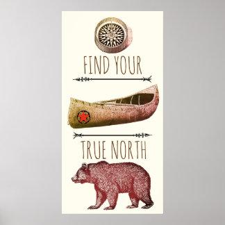 Arte do poster do compasso da canoa do urso