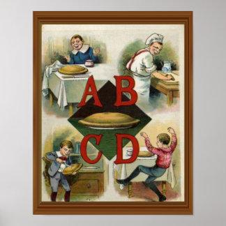 Arte do século XIX da ilustração do alfabeto da Poster