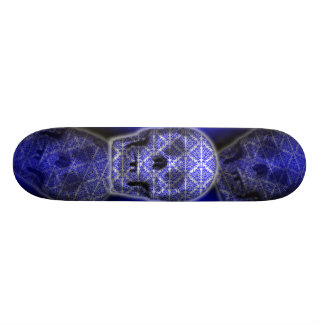 Arte do tatuagem do crânio no azul shape de skate 21,6cm