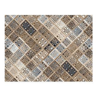 Arte do teste padrão de mosaico do sari de Brown a Cartoes Postais