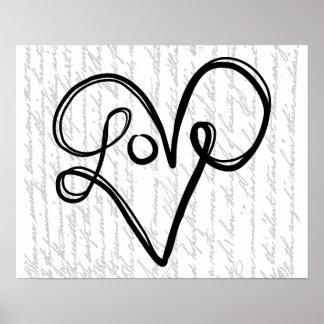 Arte do texto da tipografia do amor pôster