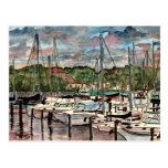 Arte do veleiro dos barcos de vela do porto do por cartao postal