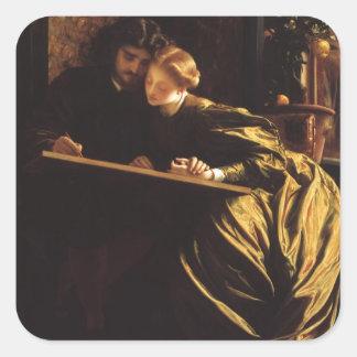 Arte do Victorian, a lua de mel do pintor por Adesivo Quadrado