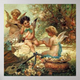 Arte do Victorian, anjos do músico por Hans Zatzka Pôster