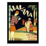 Arte do vintage do cobrir do art deco de Havana Cartão Postal