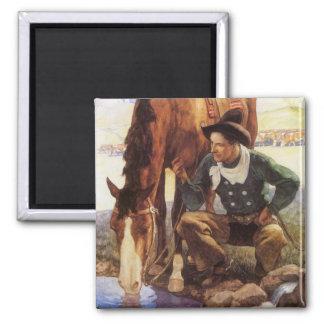 Arte do vintage, vaqueiro que molha seu cavalo por ímã quadrado