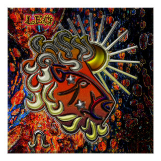 Arte do zodíaco de Leo Poster