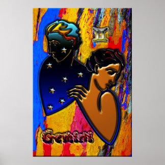 Arte do zodíaco dos Gêmeos Poster