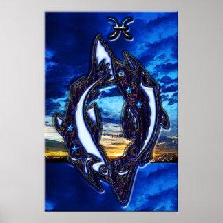 Arte do zodíaco dos peixes poster