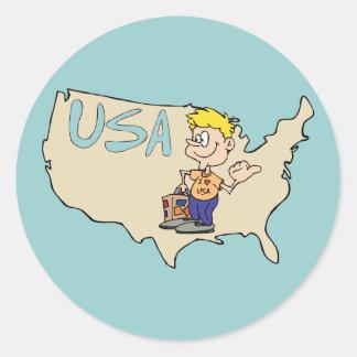 Arte dos desenhos animados do mapa dos EUA Adesivo