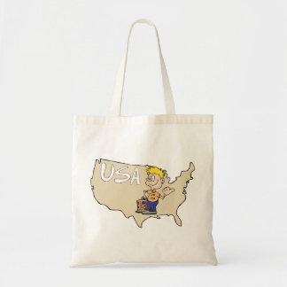 Arte dos desenhos animados do mapa dos EUA Bolsa De Lona