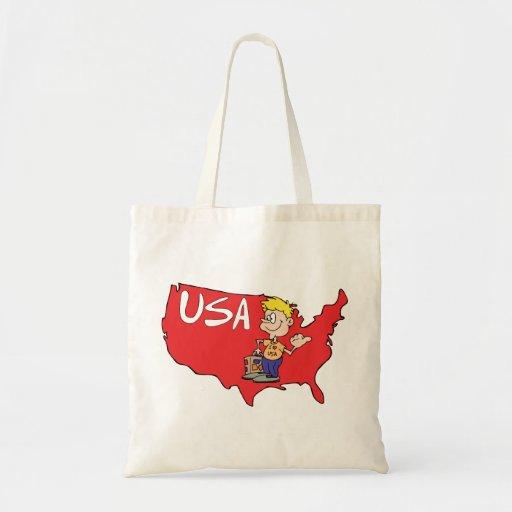 Arte dos desenhos animados do mapa dos EUA Bolsas De Lona