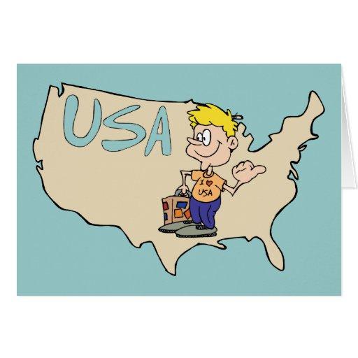 Arte dos desenhos animados do mapa dos EUA Cartao