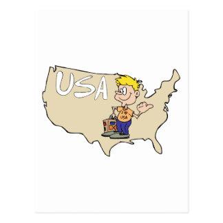 Arte dos desenhos animados do mapa dos EUA Cartao Postal