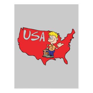 Arte dos desenhos animados do mapa dos EUA Cartão Postal