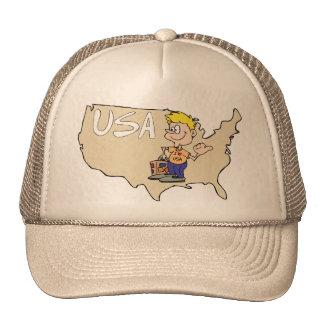 Arte dos desenhos animados do mapa dos EUA Boné