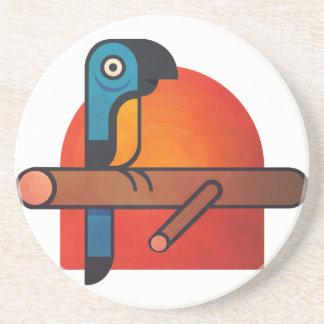 Arte dos desenhos animados do papagaio porta copos de arenito