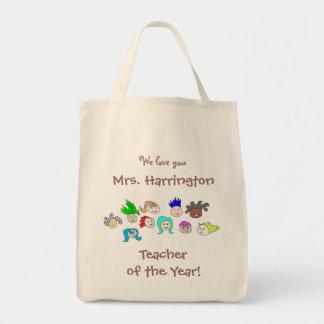 "Arte dos miúdos, ""professor saco personalizado do sacola tote de mercado"