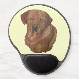 arte dourada do realista do retrato do cão de Labr Mouse Pads De Gel