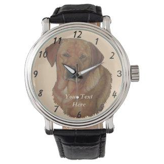 arte dourada do realista do retrato do cão de relógio