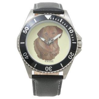 arte dourada do realista do retrato do cão de relogios de pulso
