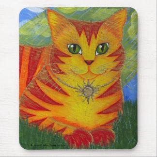 Arte dourada Mousepad da fantasia do gato de Sun