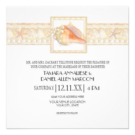Arte elegante dos casamentos de Shell do Conch da  Convites